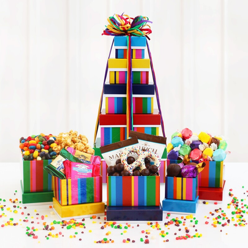 Multi-colored stripes cover this gift tower filled with  Bavarian Pretzels, Sea Salt Caramels,Ghirardelli Squares,Truffles,Jelly Bellies,Caramel Popcorn and Salt Water Taffy