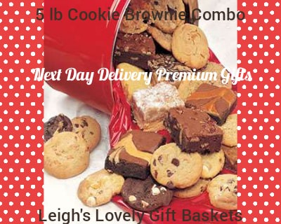 Five pound tin filled with a variety of delicious cookies in these gourmet flavors: Chocolate Chunk,  Peanut Butter,Macadamia with White Chip,  Oatmeal Raisin , and Double Chocolate Chunk.  Assorted Brownies included.  Kosher OU/D certified