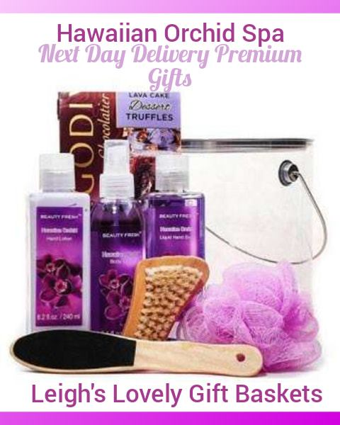 Pamper her with this spa gift pail which includes Hawaiian Orchid Body Spray,Hand Lotion, Hand Soap, Bathing Brush,Foot Scrubber, Flower Mesh Sponge and  Godiva Chocolate Truffles