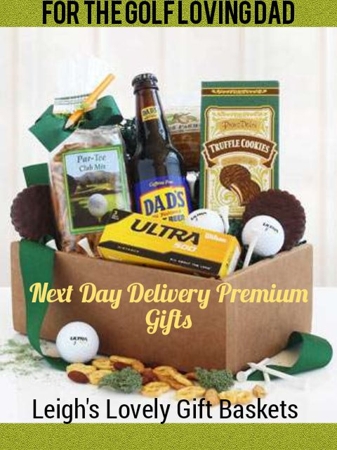 Kraft gift box filled with  3 golf balls,  5 white golf tees, savory snacks, cookies, and 3 bottles of Root Beer and trimmed with a decorative ribbon bow!