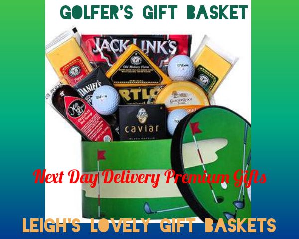 Golf Themed Gift Box is filled with 3 Golf Balls, Beef Jerky, Jack Daniels Praline Pecans, Portlock Salmon,  Caviar and Millie Lacs Beef Sausage, and 3 Cheeses