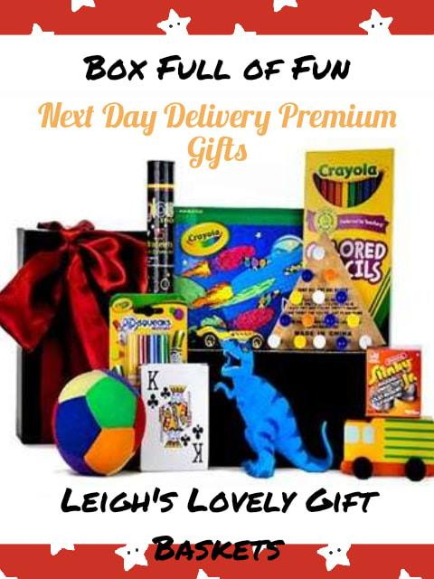 This gift box for children will keep them entertained for hours! Perfect for Birthday, Get Well or travel!  Includes: Rubber Dinosaur, Soft Multi-Colored Ball, Hot Wheel's Race Car ,Playing Cards,  Jr. Slinky   Wooden Car,Crayola Mini Markers, Colored Pencils, Crayola Pop-Up Book, Glow Sticks and a Puzzle.