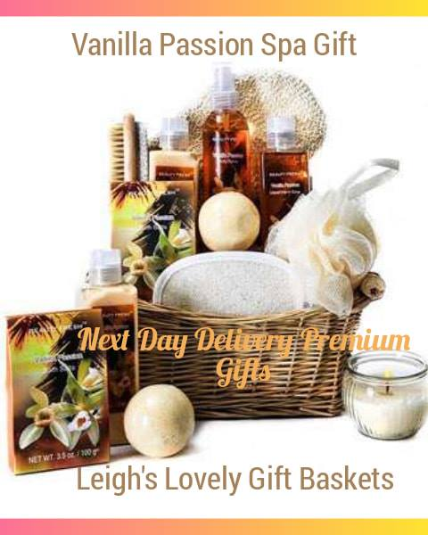 Natural wicker basket is filled with luxurious vanilla scented products to soothe her skin and revitalize her energy. Includes Body Lotion, Bath Salts, Hand Soap, Body Spray, votive Candle and more!