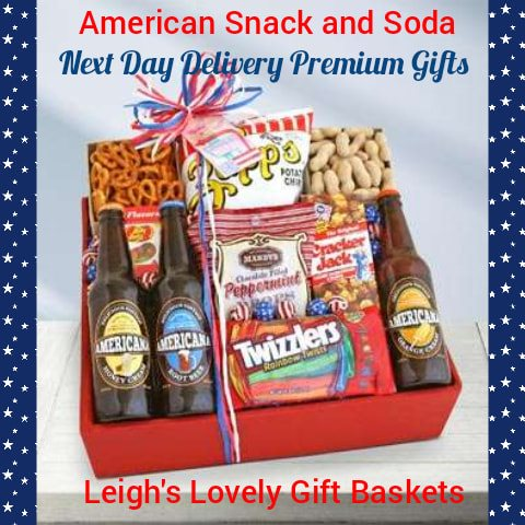 A complete All American snacking experience! Includes  Nuts, Pretzels, Potato Chips, Chocolate-Filled Peppermint Drops,   Cracker Jack's,  Shelled Peanuts,  Jelly Bean,  Rainbow Twizzlers and 3 bottles of sodas • Sodas (Root Beer, Honey Cream, Orange Cream)