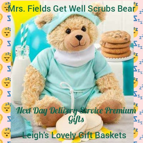 Adorable plush teddy bear is dressed in doctor scrubs and brings along four original Mrs. Field's cookies, two frosted cookies, and a card message to send a get well soon message.