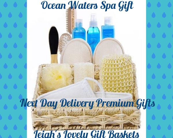 Natural woven tray basket is filled with Ocean Waters Bath Salts, Shower Gel, Body Lotion, Body Loofah,Slippers and Pumice Stone for a head to toe pampering experience!