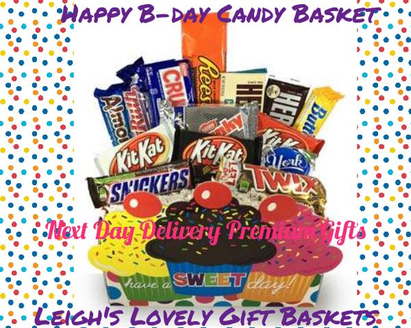 An assortment of A sweet gift idea for any candy bar lover's birthday! Festive  Cupcake Container is filled with an assortment of popular candy bars.