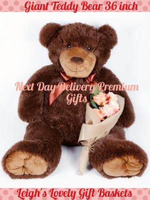 "This Giant Teddy measures a magnificent 36"" and oh so cuddly, and cute!  A memorable way to say I Love You for any occasion or none at all!"