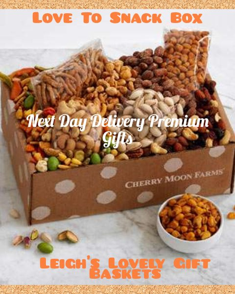 Gift Box filled with a delicious variety of snacks including Chili Lemon Corn Nuts, Cherry Berry Nut Trail Mix, Roasted Salted Cashews,  and more!