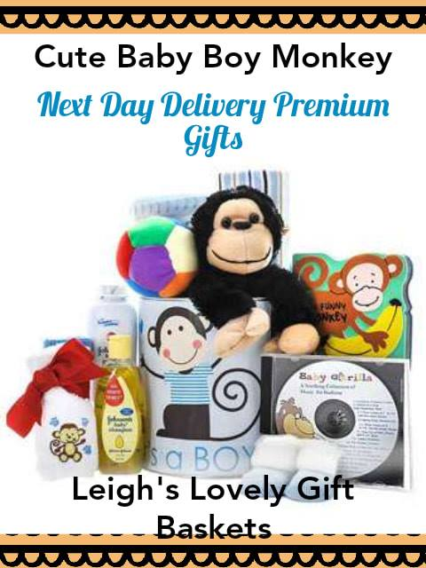 Adorable monkey themed gift basket for baby boys is filled with Plush Monkey,  Baby Gorilla Lullaby CD, Monkey Baby Board Book, ball,onesie, slippers, blanket,  bathing essentials