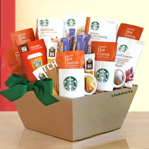 Starbucks Coffee, Cocoa and Chocolate w/ Beige Box  is great for a company coffee gift basket!
