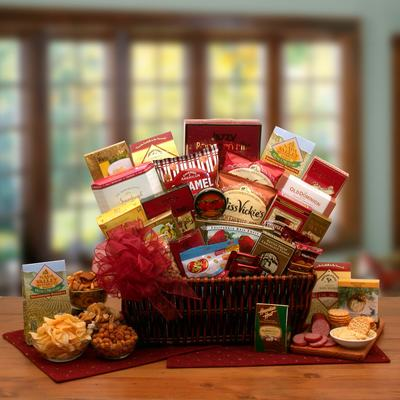 Gourmet Ambassador $107.99 Dark stained willow gift basket with handmade red bow.
