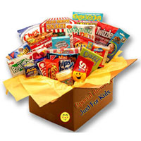 Care Package in craft paper box contains Suduko puzzle book Riddle and Puzzle activity book,Glow Sticks,original mini Slinky,Kids card game,Squishy Smiley face stress ball,Squishy putty  and an assortment of snack items and sweets.
