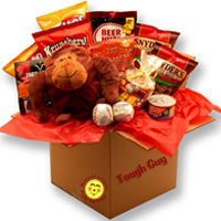 Tough Guys Care package for boys with Plush Gorilla,2 Smash face balls,Sports theme bag w/ snack mix, Frito Lay bean dip, pretzel twists,Beer nuts, kettle chips, Fritos chips, Jacks Beef sticks and Trail mix
