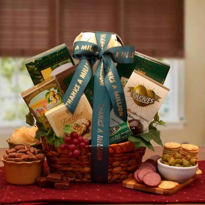 "Gourmet Thank you $66.00  Stained basket with dark green ribbon printed "" Thanks A Million"" in gold lettering"