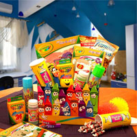 Crazy Crayons gift box includes  Crayola coloring and activity book, coloring book,24 pc crayons, Silly String, Bubbles, Pez candy dispenser with candy, cookies and other treats