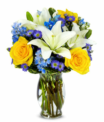 Blue Sky Bouquet with glass vase and Same Day Delivery Service
