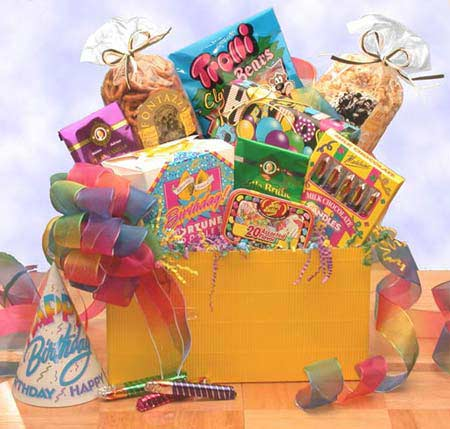 Yellow Gift Box with Rainbow Birthday Ribbon makes birthdays fun with Fortune Cookies Jelly Belly Asst Jelly Beans,Lemon Drops Candies,White Chocolate Cookies, and Happy Birthday Candy Sticks