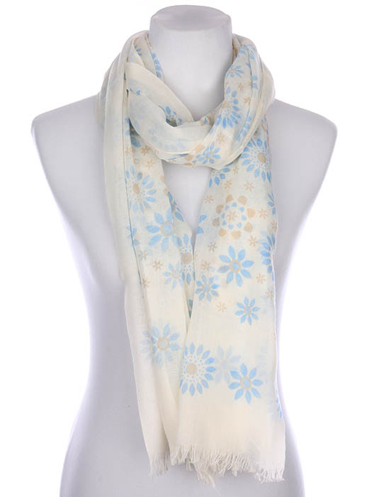 Sheer, Floral print scarf has a frayed edge.  Measures  72 inches long  X 30 inches wide . Blend of 70% VISCOSE / 30% COTTON / One Size Fits All