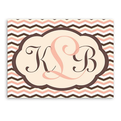 Add unique style to baby's room that will won't be outgrown. Sign is 18 x 24 inches and has an elegant script and color coded chevron design. Available in   Brown and Pink and Bermuda Blue.  Personalize with child's monogram
