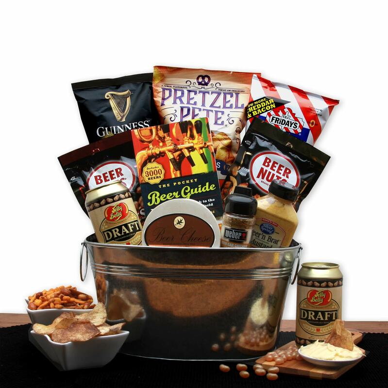 Galvanized bucket filled with tasty snacks for any beer lover!