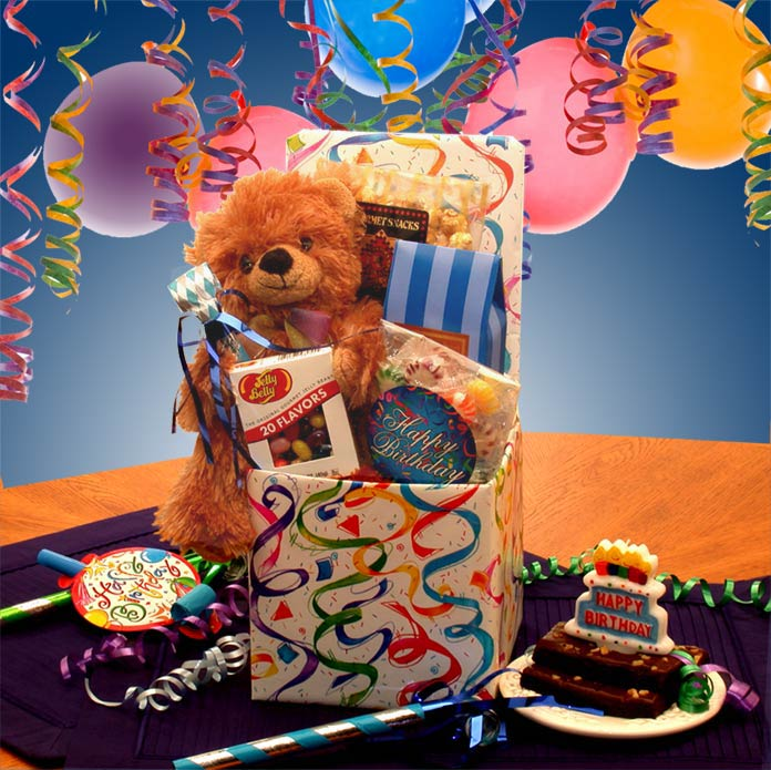 Birthday gift box filled with fun suprises!  Includes an 8 inch. teddy bear, Happy Birthday candle horn, and noise maker. Treats include  Jelly Belly jelly beans,Sour Balls, Crunchy Caramel corn,Fudge brownies and 4 piece assorted cream center chocolates
