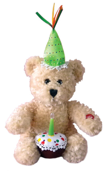 "Happy Birthday Plush Cupcake Bear is an adorable 10"" tall with a green party hat and cake with candle . Candle lights as he sways and sings The Birthday Song and he blow it out when finished singing."