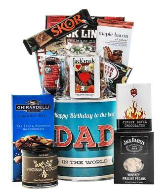 Treat Dad to a delightful mix of gourmet taste sensations! Maple Bacon Chocolate Bar ,Sesame, Chocolate, Sea Salt and Almonds,  .Dark Chocolate with Chili and Cranberries,  Jack Daniel Flavored Praline Pecans