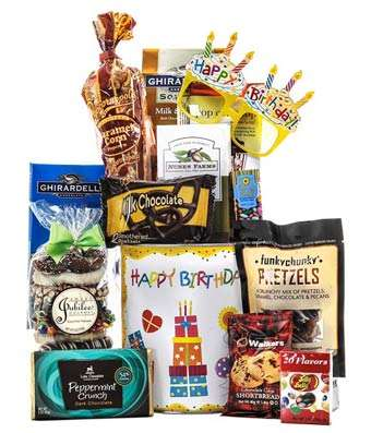 Birthday gift tin contains snacks that they will surely happily devour! Includes:  Salty, nutty, Peppermint. Chocolate,Sunflower seeds,  shortbread. fruity,caramel.