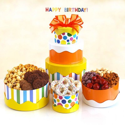 Bright colors, stripes and dots create a very festive gift tower filled with Caramel Popcorn, White Yogurt Pretzel, California Smoked Almonds, Roasted Salted Pistachios, Chocolate Covered Berries,Cookies,Butter Toffee Pretzels, and Happy Birthday Candles