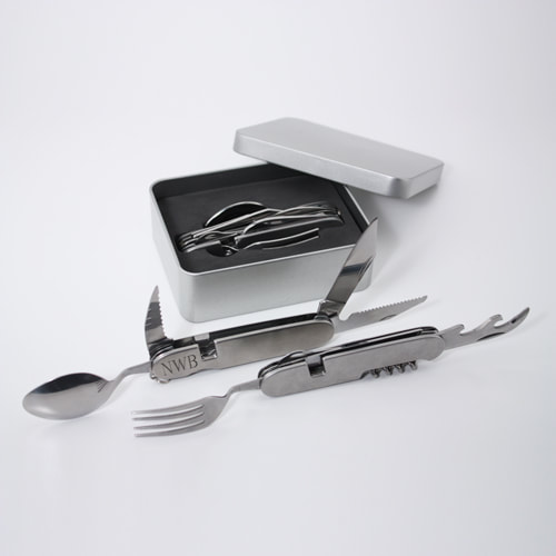 "Adventurers 10-function Multi-Tool includes a knife, fork, spoon, serrated knife, x2, file, scissors, bottle opener, wine top slicer, corkscrew and mini-pry bar. This unique tool comes apart for handy use of 2 utensils/tools at once as well as arrives in a great tin box.  Measures 11""L x 2.3""W when closed. Tin box measures 10"" x 12"""