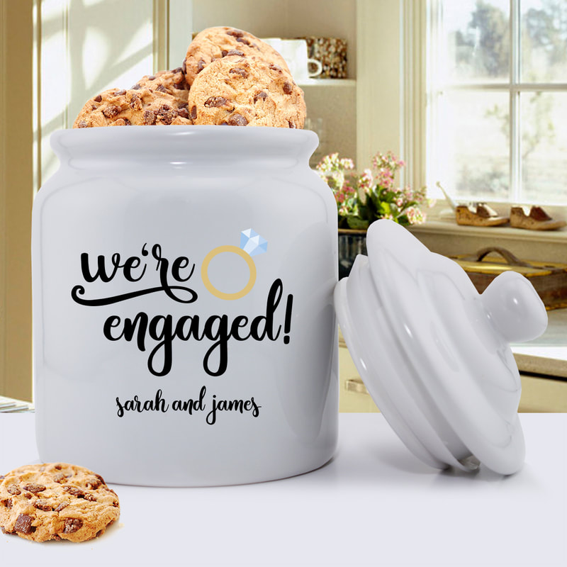 We're Engaged Cookie Jar shown Personalize with couple's first names