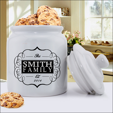 Heavy duty ceramic Family Designs cookie jar is available in twelve designs. Shown here in Classic Family design