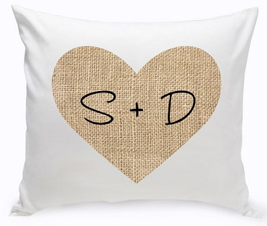Couple's Burlap Heart Throw Pillow with burlap heart and first initials.