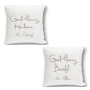 Couples Throw Pillow Set in choice of two designs