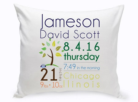 Baby Announcement Throw Pillow is a great way to decorate the nursery and remember the details of Baby's special arrival! 16 x 16 square pillow has zip off cotton cover for easy care. Choose from Baby Boy or Baby Girl designs.
