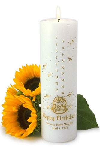 "Create a keepsake candle for children and their family to and burn yearly until age 18. Decorative candle is 3""x 9"" . Choose white or ivory candle then one of eight ink colors to personalize with baby's full name and birth date."
