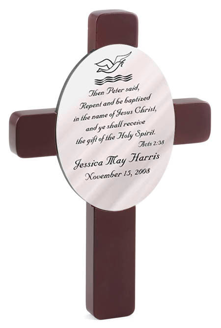 "Baptismal cross is a simple yet elegant way to remember this very special event in their Christian life. Baptismal  Measures 9 ½"" x 7 ¼"" x 5/8"" and comes ready to hang. Choose from Acts, Matthew or Mark and personalize with full name and Baptism date."