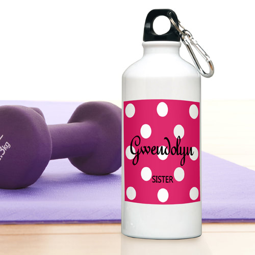 Personalized Polka Dots 20 ounce Aluminum Water Bottle will keep her  hydrated and stylish!  Choose from six colors and personalize with two lines . Leak-proof screw-on lid with attached carabiner.