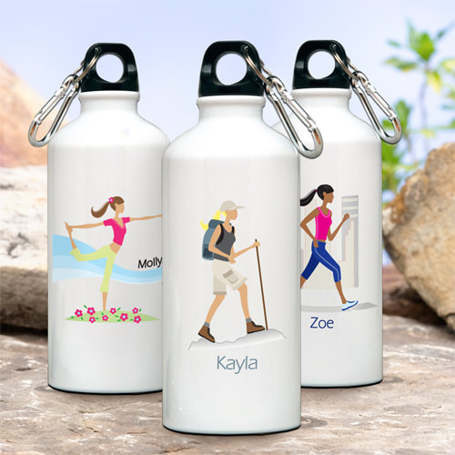 "This 20 ounce  aluminum water bottle with leak-proof cap and handy clip/carabiner  features a trendy ""Go-Girl"" icon. Choice of ten sports/ activities and hair color. Add first name personalization up to ten characters."