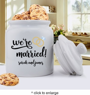 We're Married Cookie Jar shown. Personalize with couple's first names.