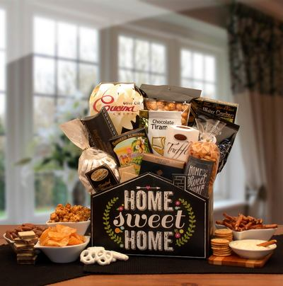 "No Place Like Home $68.99  Black house shaped gift box printed with "" Home Sweet Home"""