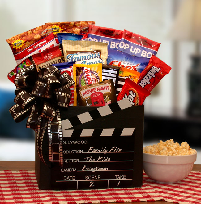 Movie Director's Chalkboard themed gift box holds movie goers favorite mix of snacks and sweets plus a Red Box Gift Card good for 6 movie rentals so the fun can repeat !