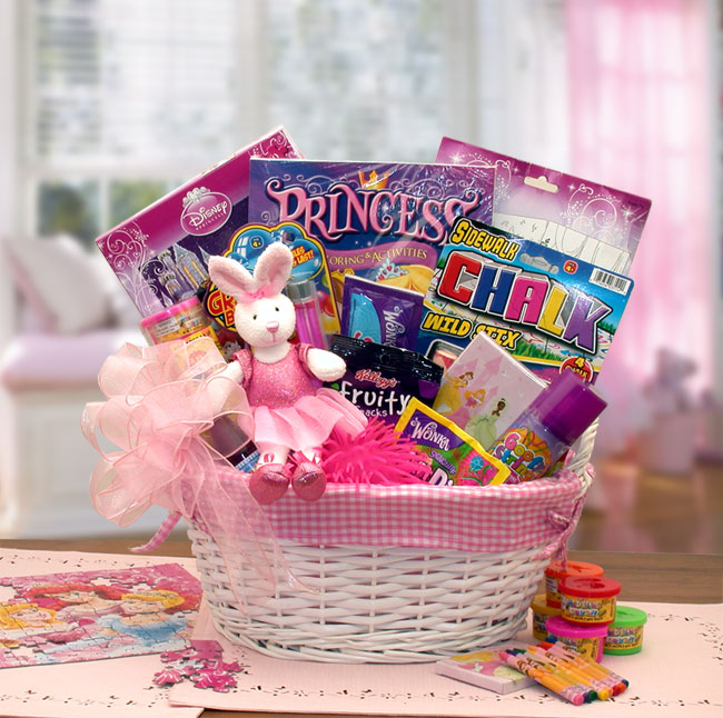 White wicker fabric lined basket includes a plush ballerina bunny, Disney Princess puzzle, paint set, crayons, coloring book,bubbles, light up puffer ball, Silly string, sidewalk chalk and favorite sweet treats.