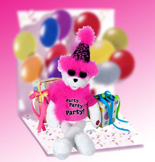 Singing and animated Diva is 15 inches tall,wears her hot pink and black shaggy sweater and party hat and is fully and sings.