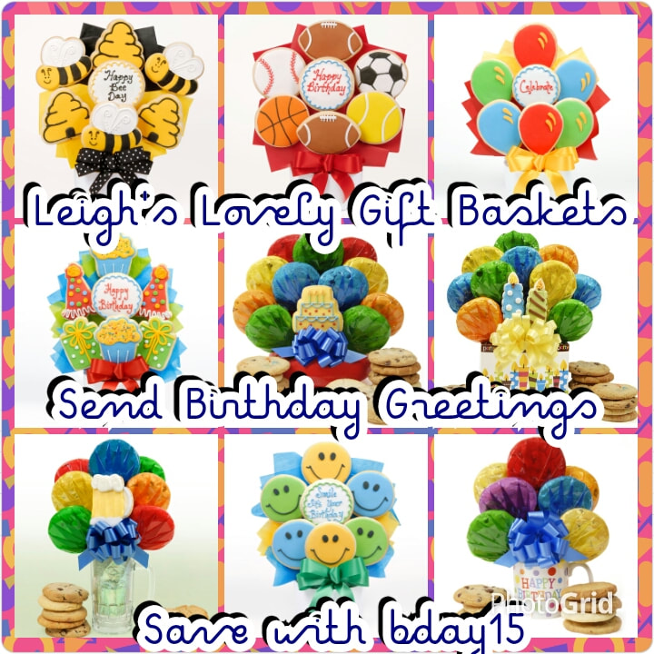 Collage Photo link for Birthday and Children's Cookie Bouquets