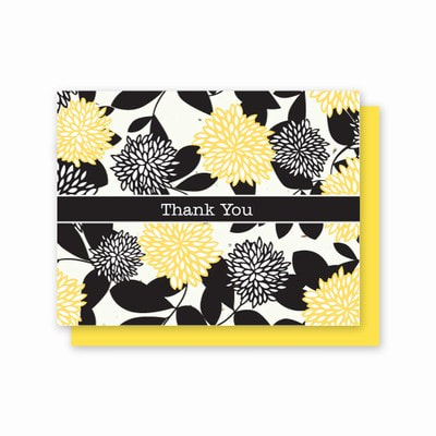 Yellow, Black and White Chrysanthemum Printed  5 pack of Cards with Wildflower Seeds. Photo Link