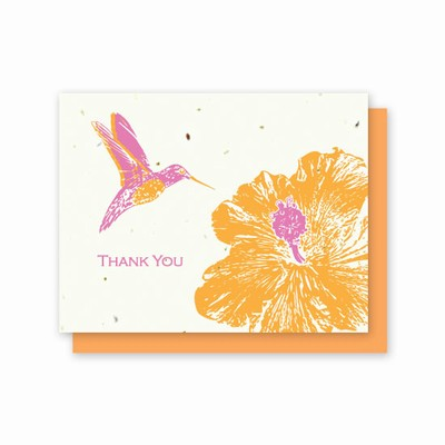 Orange, Hot Pink and white card with Hummingbird and Hybiscus Print. 5 pack of cards. Photo Link