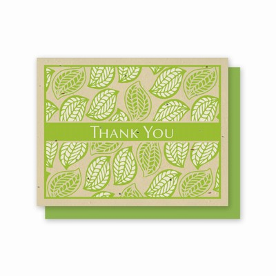 Green tonal print with leaves. Embedded with wildflower seeds. 5 pack of cards. Photo link