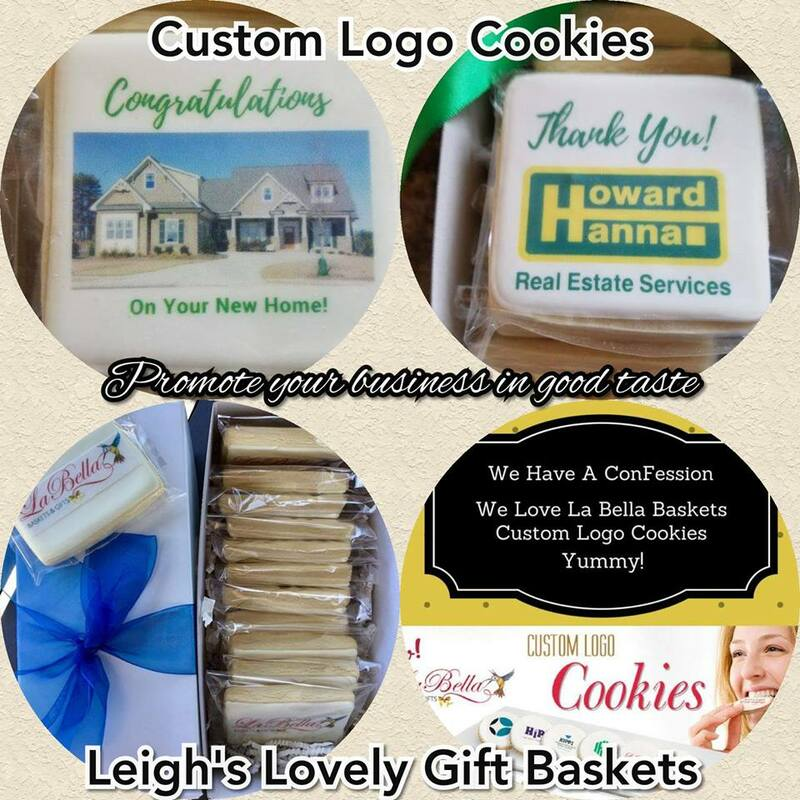 Custom Logo and Event Cookies for your business needs .  Photo connects to Leigh's Business Gift Services page.